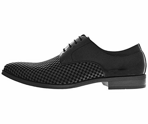 Amali Hombres Black Checker Impreso Zapato Del Vestido Del Smoking Del Dedo Del Pie Llano Con Patente Negra: Estilo Nikko-000