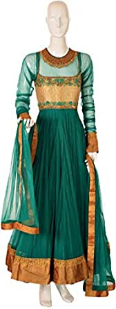 Sanskriti Green Festive Anarkali Set For Women