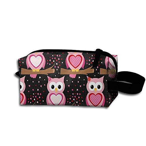 King Fong Cartoon Owl Makeup Bags for Men/Women, Travel Toiletry Bag, Oxford Pencil Case with Unique Big Wristband ()