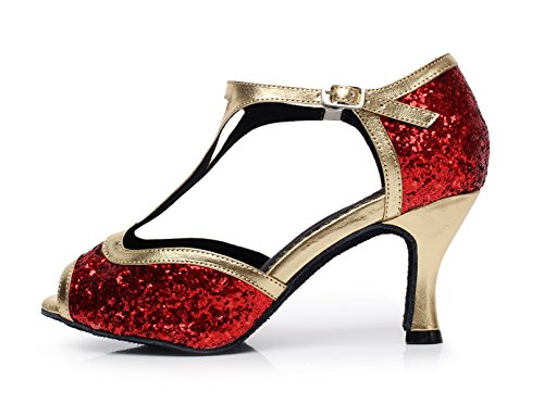 JSHOE Red Strap Femmes EU34 Sexy Salsa Ballroom 5 Danse Chaussures Our35 Latin T Talons Party Chaussures UK3 heeled10cm Hauts de Jazz Latino Danse Tango rrtUdw