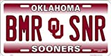 NCAA University of Oklahoma BMR SNR Sooners Car License Plate Novelty Sign