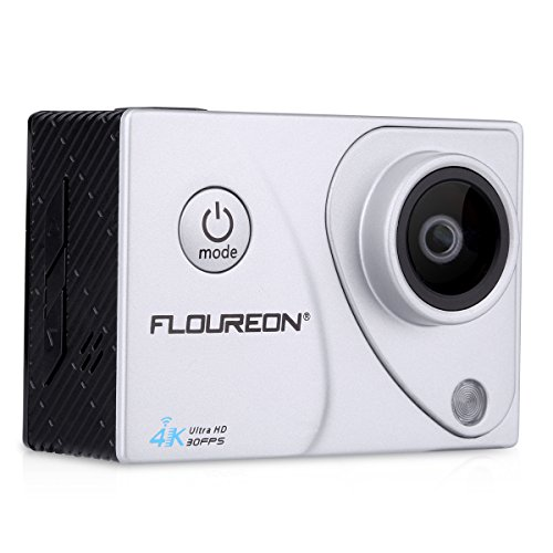 Floureon A3 4K 30FPS 16MP Ultra HD Action Camera H.264 WIFI 2.0 Inch 170° 30M/98FT Waterproof Sports DV Cam (Silver) Floureon