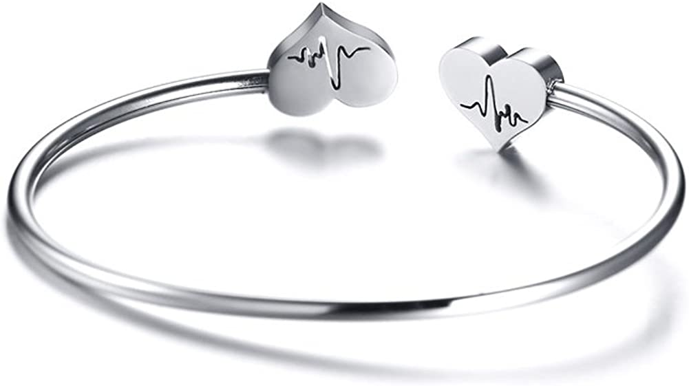 M/édico Estudiante de Medicina Vnox Heartbeat Cardiograma de Acero Inoxidable ECG Grabado Brazalete Abierto Pulsera Brazalete de Regalo de la Joyer/ía para Enfermera