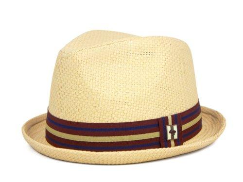 Peter Grimm Depp Fedora Hat w/ Striped Brim Size (L/XL, Natural) (Pork Pie Hat)