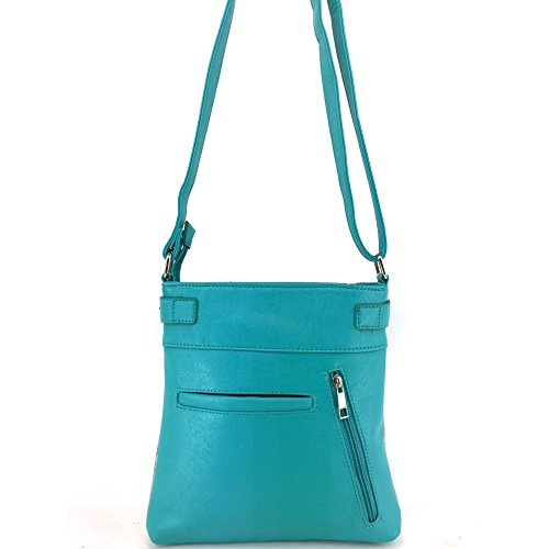 Gleaming Shiny Purse Handbag Bling Lis Body Carry Glass Justin West Turquoise De Cross Messenger Fleur Concealed Rhinestone StgRWqwXxn