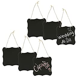 Set of 6 Black Metal & Twine Hanging Erasable Chalkboards, Write-On & Magnetic Wall Signs