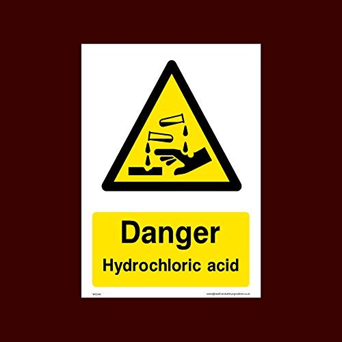 Danger Hydrochloric Acid Sign Stickers Self Adhesive Vinyl (Wcd46) Funny Warning Stickers for Property,Safety Sign Sticker Lables, Self Adhesive Vinyl Decal ()