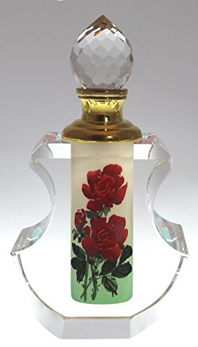 Flower Shaped Perfume Bottle - Red Rose Crystal Perfume Bottle - Hand-painted, PBA04-464