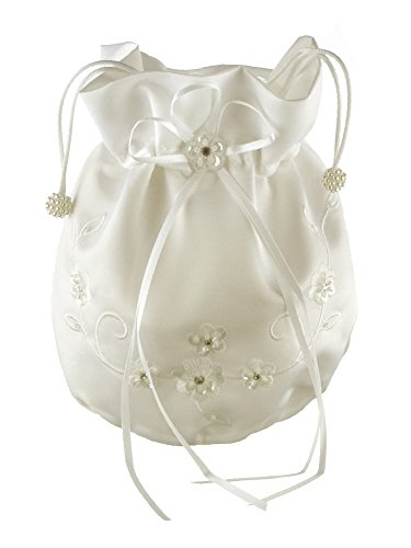 DivaDesigns Crystal Sequin Embroidery Satin Wedding Bridal Money Bag (Wedding Money Bag)