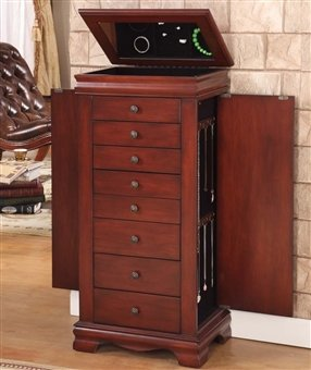 2 Drawer Cherry Armoire - Nathan Direct Marquis 8 Drawer Lockable Jewelry Armoire with 2 Side Compartments and a Lift-Top Compartment with Mirror and Ring Holders, Cherry