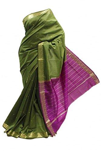 ASB3403 Saree de seda de arte verde oscuro y púrpura Indian Art Silk Saree Sari Curtain Drape Fabric Verde