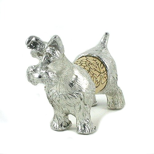 Schnauzer Dog Wine Cork Sculpture - Changeable Cork Display - Gift Boxed, Story Card - Handcrafted Pewter Made in USA by Lucina K.