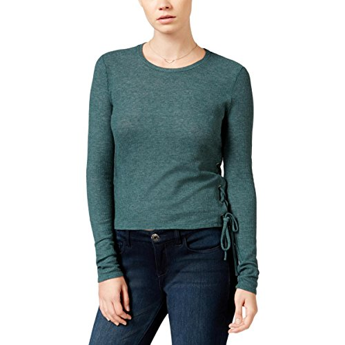 Chelsea Sky Womens Knit Lace-up Casual Top Green (The Chelsea Knit Top)
