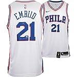 126987989 Joel Embiid Philadelphia 76ers Autographed White Nike Swingman Jersey  with