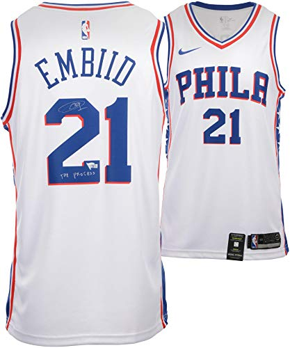 Joel Embiid Philadelphia 76ers Autographed White Nike Swingman Jersey with