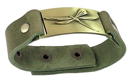 Dragonfly bracelet with Vintage Olive Green Genuine leather snap ()