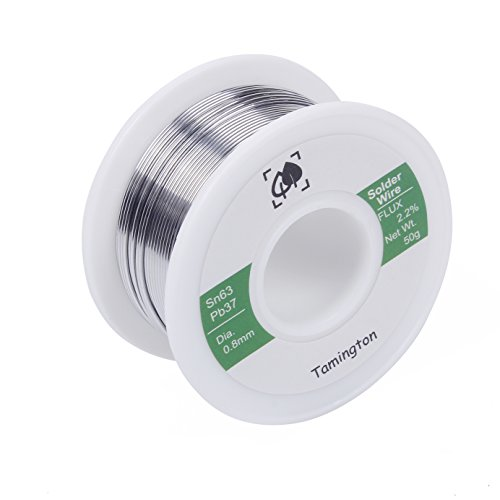 Solder Wire Sn63 Pb37 with Rosin Core for Electrical Soldering 50g (0.8 mm) by TAMINGTON