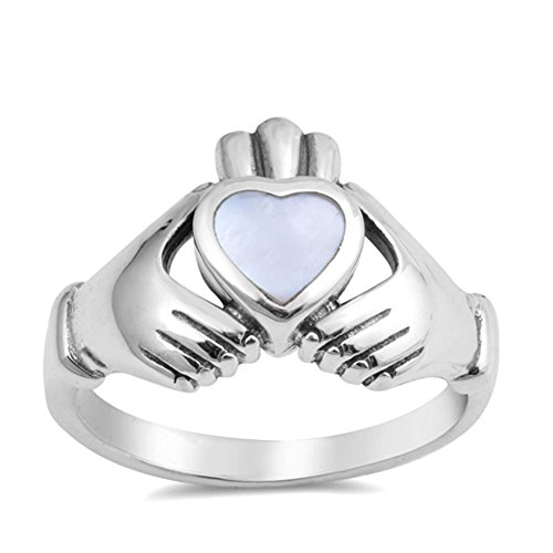 Claddagh Simulated Mother of Pearl Heart Promise Ring .925 Sterling Silver Band
