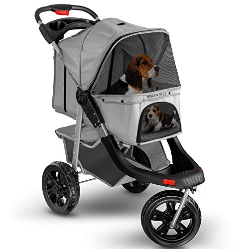 Dog Stroller for Cat and Dog - Deluxe 3-Wheel Pet Strollers for Small and Medium Cats, Dogs, Puppy - Gray