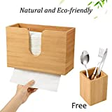 Bamboo Paper Towel Dispenser for Bathroom Decor - C-fold Wall Mounted Countertop Paper Holder with Bamboo Utensil Holder