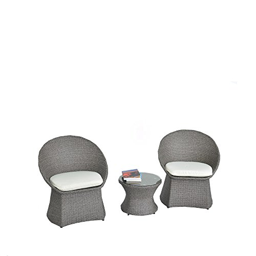 JETIME Rattan Outdoor 3pcs Bistro Set Indoor Garden Patio Wicker Furniture Chairs and Table Set Cushioned Seatwith Beige Cushion