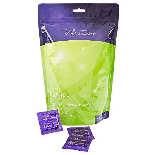 Paquete de 100 preservativos de naturales VIBRATISSIMO para una sensacion autentica, real y extra humeda (testados en Alemania)