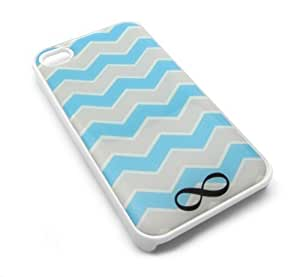 Cute Turquoise Chevron Infinity Snap-On Cover Hard Carrying Case for iPhone 4/4S (White)