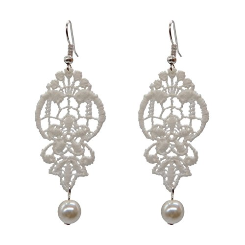 RareLove Vintage White Lace Flower with Artificial Pearl Beads Chandelier Dangle Earrings - Dangle Lace