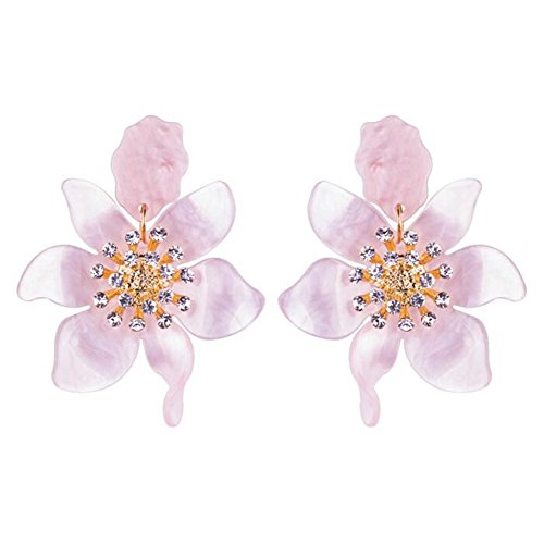 Flower Earrings Dangle Crystal - Miweel Bohemian Luxury Oversize Resin Big Flower Earrings For Women Stainless Steel Crystal Jewelry