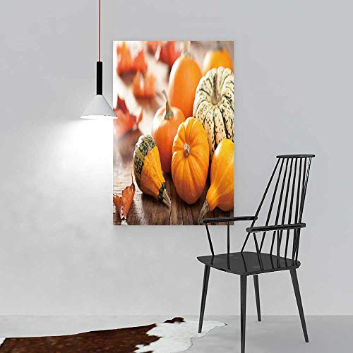 aolankaili Modern Wall Art Decor Frameless Decorative Pumpkins and Autumn Leaves for Halloween for Home Print Decor for Living Room W24 x H36 -