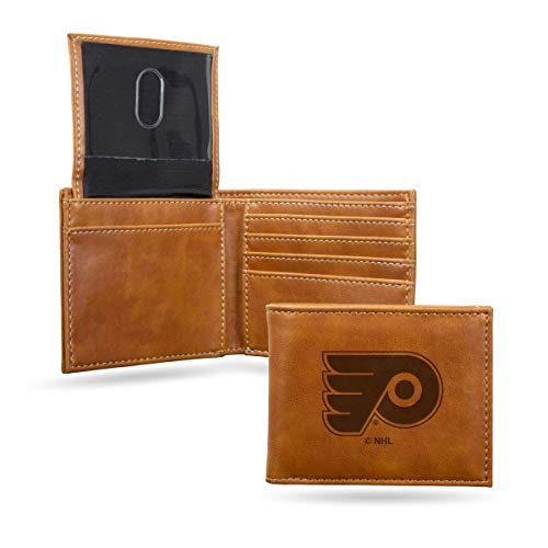 Rico Industries NHL Philadelphia Flyers Laser Engraved Billfold Wallet, Brown ()