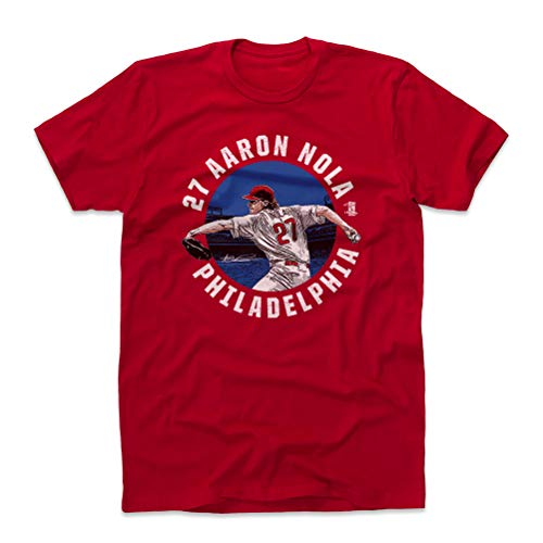 500 LEVEL Aaron Nola Cotton Shirt Large Red - Philadelphia Baseball Men's Apparel - Aaron Nola Badge B WHT