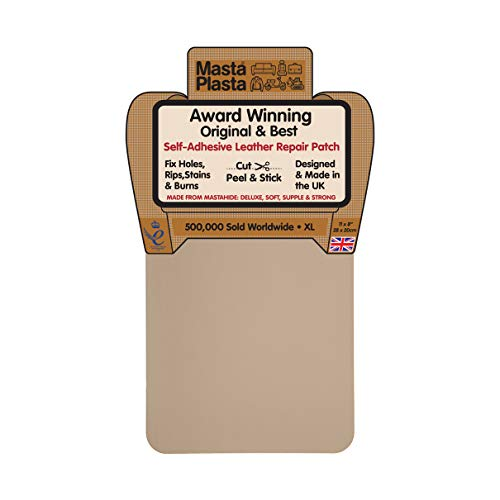 - MastaPlasta Self-Adhesive Patch for Leather and Vinyl Repair, XL Plain, Beige - 8 x 11 Inch - Multiple Colors Available