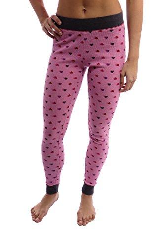 Cuddl Duds Women's Thermal Long Legging (Medium, Pink Heart) (Duds Cuddl Womens Underwear Long)