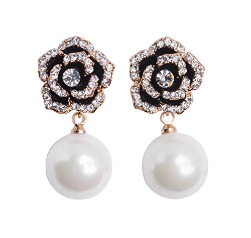- MISASHA Celebrity Designer Imitation Pearl Camellia Charm Dangle Earrings