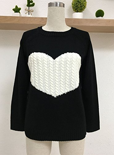 Sweater Jumper Modles Hiver Col Shirts Amour Tricots Pullover Fashion Chandail et C Chemisiers ur Rond Manches Casual Longues Blouses Automne Pulls T Femmes Noir Haut Tops CR1Hx