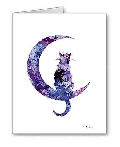 Black Cat Moon - Set of 10 Abstract Watercolor Note Cards With Envelopes ()