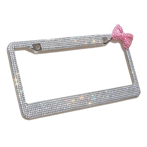 - Carfond 7 Row Pure Handmade Waterproof Bling Bling Rhinestones Stainless Steel Metal License Plate Frame With HOT Pink Bow 2 Holes Bonus Matching Screws & Caps (clear/pink bowknot)