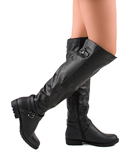 ROF Women's Leatherette Block Heel Strappy Over The Knee High Boots BLACK (7.5)