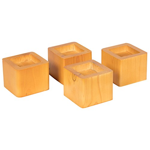 Richards Homewares Wooden Stacking Risers Wood Bed Lifters, Set of 4, Honey