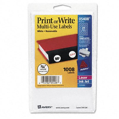 Avery Handwritten Removable ID Label - 0.75amp;quot; Length - Removable/Pack - White