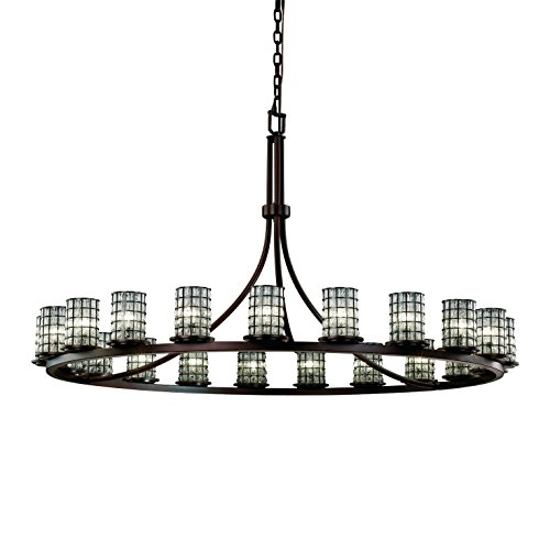 Justice Design Group Lighting WGL-8716-10-GRCB-DBRZ Wire Glass 21-Light Chandelier, 65
