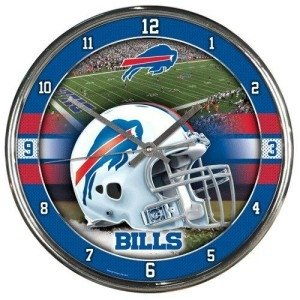 Buffalo Bills Round Chrome Wall - Bills Clock Buffalo