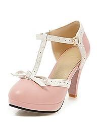 DoraTasia Women's Cute Bow Tie T Strap High Heel Mary Janes Vintage Platform Dress Pumps Shoes
