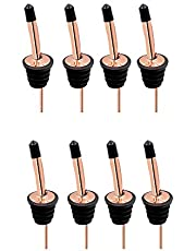 IUAQDP 8 Pack Stainless Steel Classic Bottle Pourers Tapered Spout Liquor Pourers with Rubber Dust Caps,Rose Gold