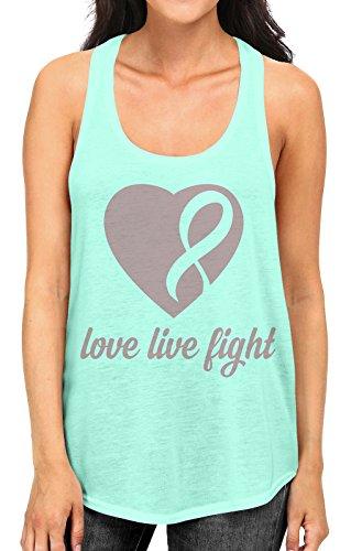 Junior's Love Live Fight Breast Cancer Ribbon Heart Tee B1047 PLY Mint Green Racerback Tank Top Small