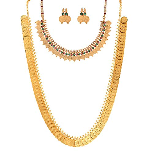 ZENEME Gold-plated Brass Necklace for Women (Red_0.26 Pounds)