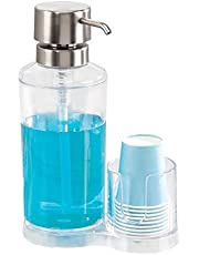 InterDesign Clarity Mouthwash Pump Dispenser with Paper Cup Holder for Bathroom Countertops - Clear/Brushed Stainless Steel