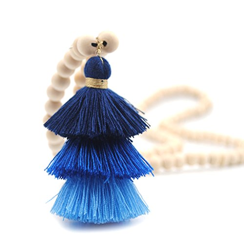 Stebcece Fashion Women Wooden Round Bead with Tassels Long Sweater Chain Pendant Necklace (Dark Blue) - Bead Tassel Necklace