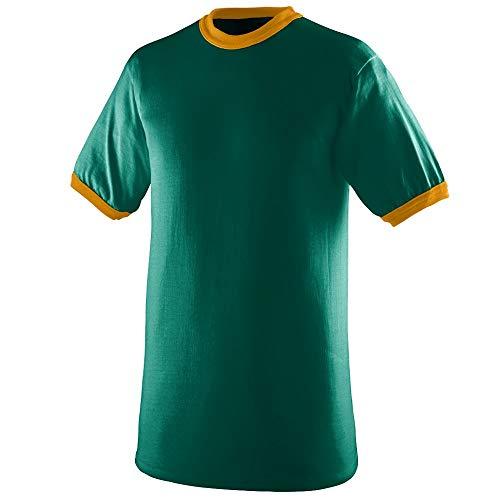 Augusta Sportswear Men's Ringer tee Shirt, Dark Green/Gold, Medium